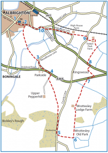 Walk from Albrighton to Boningale, Pepperhill, Wrottesley Old Park, Kingswood, Oaken Park and High House Lane map