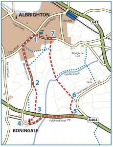 Walk from Albrighton to Boningale and Lord's Meadow map