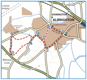 Walk from Albrighton to Kennel Lane, Windmill Lane and Church Road map