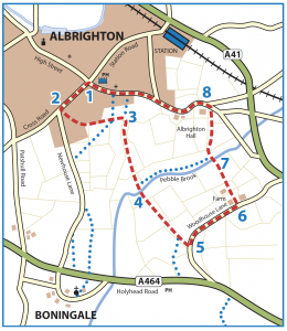 Walk from Albrighton to Lord's Meadow, Woodhouse Lane and Kingswood Road map